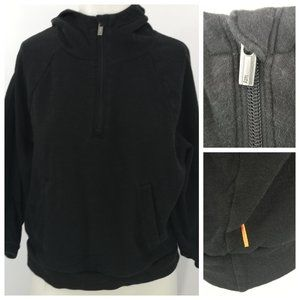 Lucy Cropped Hoodie Size S Black 1/4 Zip Pocket